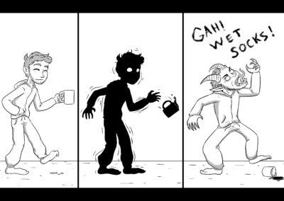 Comic, Wet socks