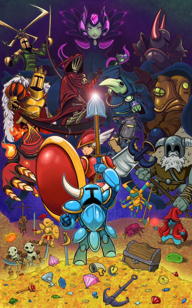 Shovel knight standing from yacht club games standing on money