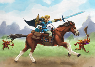 Man on a horse with sword and shield charging forward. two goblin creatures in the backround