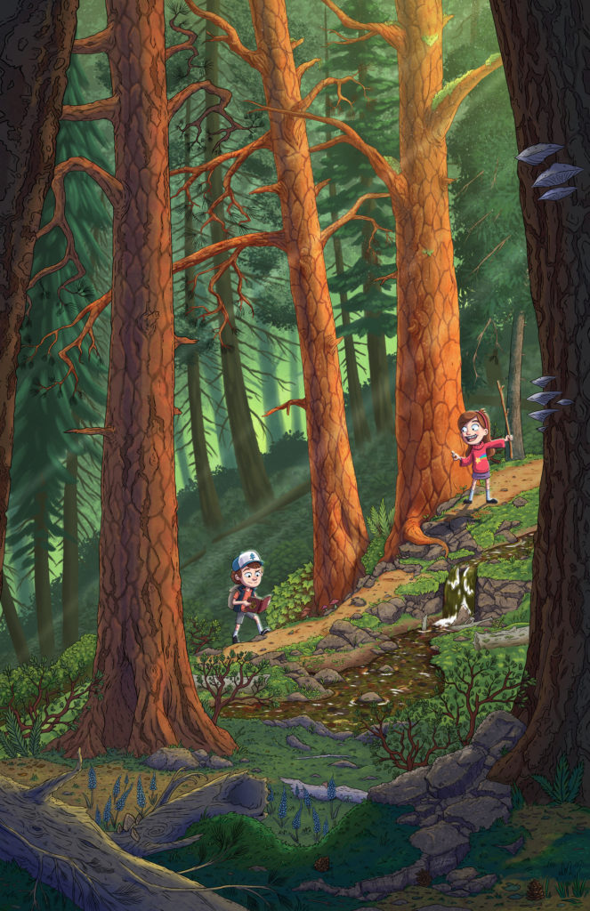 Gravity Falls Dipper and Mable Pines hiking through a Pacific Northwest forest.